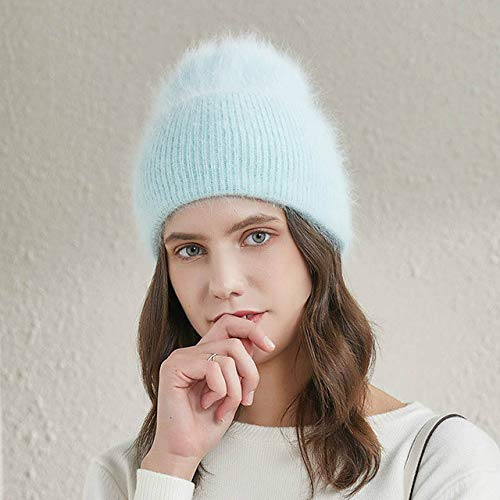 Women's winter hats warm long hair female hats fashion solid color wide cuffs youth style beanie-35-52-58 CM