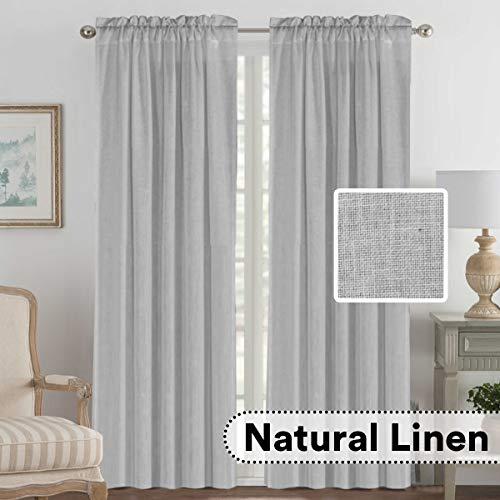 H.VERSAILTEX 2 Pack Ultra Luxurious High Woven Linen Elegant Curtains Rod Pocket Curtain Panels Light Reducing Privacy Panels Drapes for Bedroom/Kids Room, Extra Long 52x108-Inch, Dove