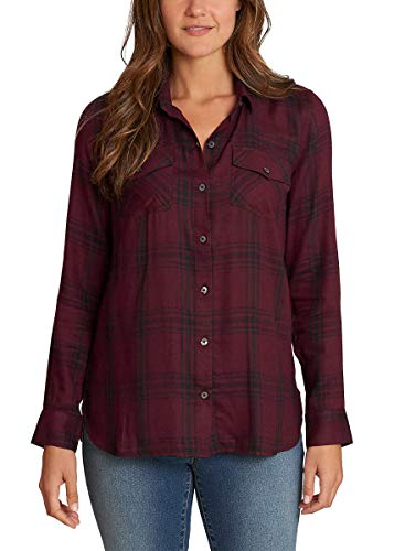 Jessica Simpson Women's Petunia Button-Up Shirt, Wine/Black Plaid, Size Small