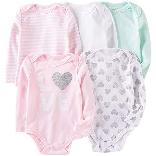 Lot de 5 Bébé Filles Body Manches Longues Combinaison en Coton Barboteuse Grenouillère Doux Pyjamas Cadeau Nouveau-né, 3-6 Mois