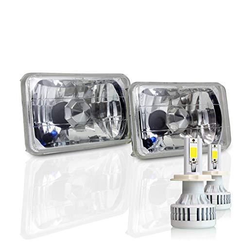 4x6 Inch Sealed Beam Headlight Conversion - fits H4651 H4652 H4666 H4656 - Clear Glass Diamond Cut Housing + H4 LED Kit 6000K Cool White 8000 LM