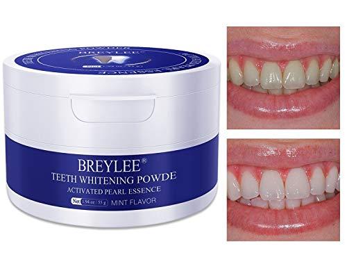 Zahnaufhellung Pulver ZahnBrighting Pulver mit Pearl Essence Natrium Bicarbonat für die Entfernung von Flecken durch Kaffeewein Rauchen Whitening Gelb Zähne halten Oral Fresh (55g)