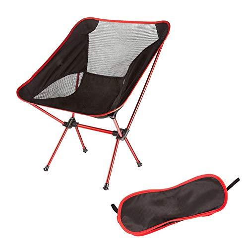 WXJY Ultraléger Pliante Chaise de Camping - Chaises baladants Heavy Duty Capacité lombo - Compact pour Outdoor Camp, Voyage, Plage, Pique-Nique, Festival, avec Le Sac Carry Red
