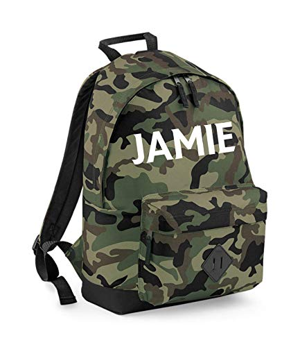 Personalised Camouflage Boys Backpack, Any Custom Printed Name, Back to School Bag, Rucksack - Free Postage