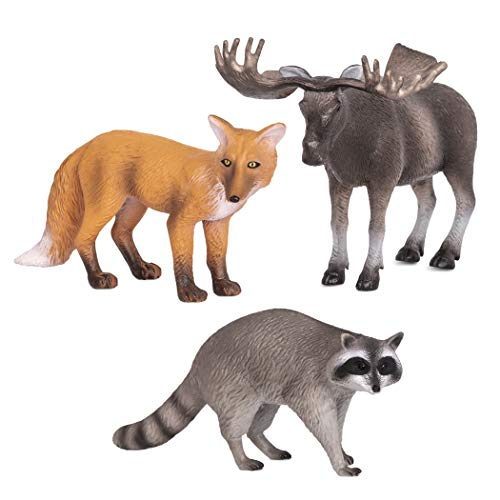 Terra by Battat – Forest Animals (Fox, Moose & Raccoon) – Miniature Animals for Kids 3-Years-Old & Up (3 Pc), Multi (AN2806Z)