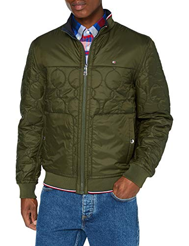 Tommy Hilfiger Herren Reversible Onion Quilted Bomber Jacke, Camo Green, M