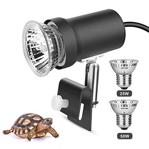 Zacro Tortuga - Lámpara de iluminación UVA (25 W) UVB (50 W) con portalámparas metálico giratorio a 360°, lámpara calefactora en recipiente de cristal para reptiles y anfibios