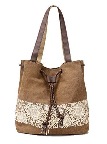 DNFC Damen Handtasche Canvas Schultertasche Umhängetasche Damen Shopper Tasche Schöne Vintage Henkeltasche Beuteltasche (Braun)
