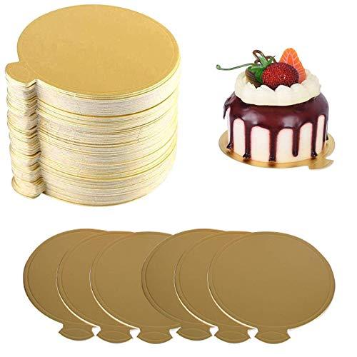 100 Pz Tableros para Tartas Cartón para Tartas Mousse Tartas Bandeja Bandeja Redonda para Tartas Bandeja Tarta Papel Base de Pastel Base de Postre Dorado Bandeja Pastel de Cumpleaños de Boda