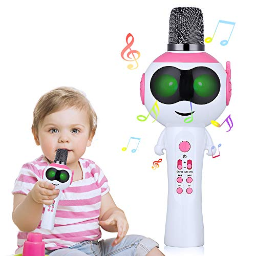 Kids Karaoke Microphone, Mbuynow Wireless Bluetooth Karaoke Machine Speaker with LED Lights, Portable Handheld Karaoke Machine Toys Gifts Home Party Birthday for Android/iPhone/Smartphone (Pink)