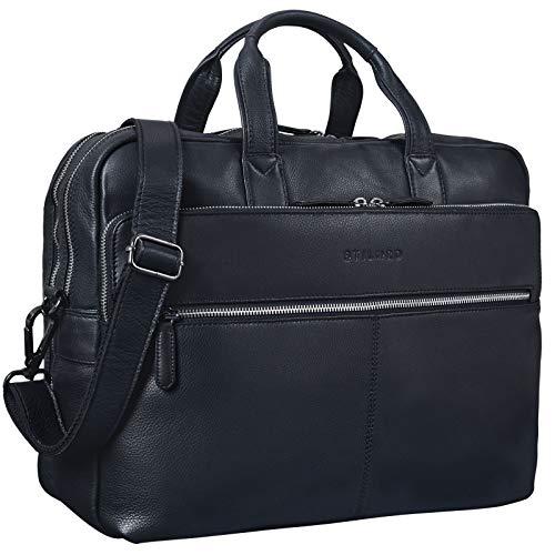 STILORD \'William\' Businesstasche Leder groß XL Lehrertasche Aktentasche 15,6 Zoll Laptoptasche Bürotasche Ledertasche Vintage Umhängetasche Echtleder, Farbe:schwarz