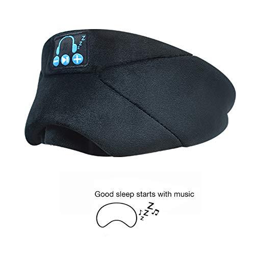 Mhwlai Bluetooth Masque pour Les Yeux, chaîne Hi-FI 5.0 Masque pour Les Yeux de la Musique Peut Bloquer la lumière écoute du Masque pour Les Yeux du Sommeil du Morceau (Noir),A