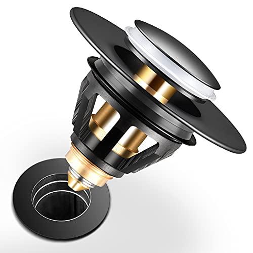 Homonic Universal Desagüe Lavabo Click-Clack Acero Inoxidable, Tapones de Desagüe Lavabo con Filtrar para Cocina Baño Bañera