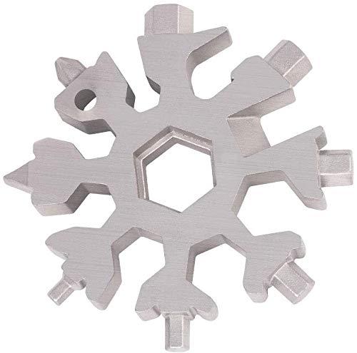 18-in-1-Schneeflocken-Multi-Tool, Edelstahl Multitool-Sechskant-Schraubendreher-Inbusschlüssel-Flaschenöffner, bestes EDC-Werkzeuggeschenk for den Vatertag dosen öffner WANGSHAOFENG (Color : Silver)