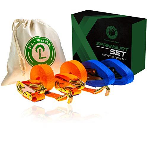 PL-Work | Hochwertiges Spanngurt Set | TÜV/GS | 800 KG | 6 m x 25 mm | Inkl. Transportbeutel | Zurrgurte mit Haken und Ratsche