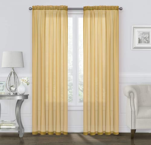 GoodGram 2 Pack: Basic Rod Pocket Sheer Voile Window Curtain Panels - Assorted Colors (Gold, 84 in. Long)