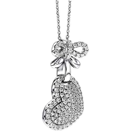 Tresor Paris Allure Heart Sterling Silver & White Crystal Necklace Pendant With Sterling Silver Chain 022765
