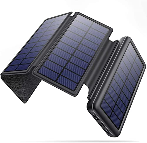 Solar Portable Charger, 36800mah Power Bank with 4 Foldable & Detachable Solar Panels Type C 3 Inputs 2 Outputs 4 LEDs High Capacity External Battery Pack Compatible with iPhone iPad Smartphone Tablet