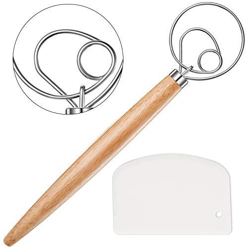 Danish Dough Whisk, Dough Whisk Stainless Steel Dutch Style Bread Dough Hand Mixer Wooden Handle Kitchen Baking Tools Artisian Blende (1Whisk+1Bread Lamer)