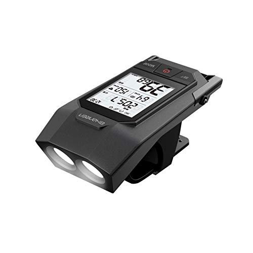 Shanren - Computer wireless impermeabile, 18 funzioni, frequenza cardiaca e cadenza, contachilometri mph con faro integrato da 300 lm, Bluetooth