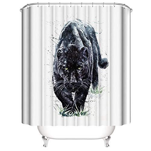 LLLTONG Duschvorhang wasserdicht & Schimmel waschbar Duschvorhang Polyester Stoff 3D Duschvorhang Grass Panther