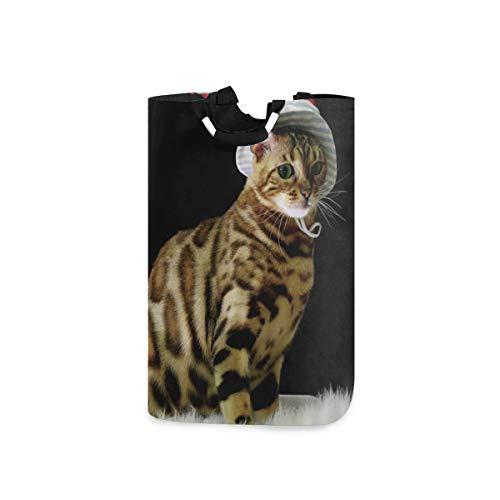 COFEIYISI Wäschesammler Wäschekorb Faltbarer Aufbewahrungskorb,Katze Sexy Tier mit Leopardenmuster mit Fischerhut halb sitzend auf Wolldecke Lustiger süßer Stil,Wäschesack - Wäschekörbe