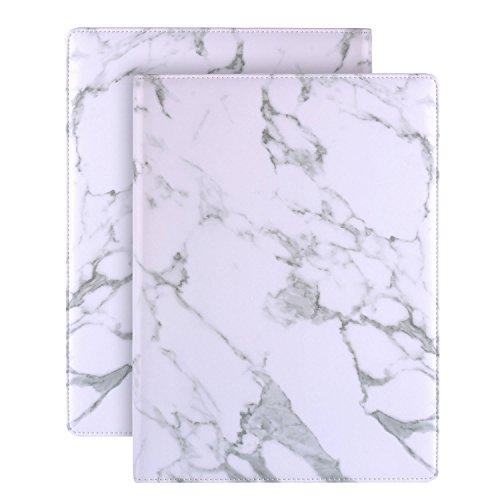 Aktenmappe für Briefe / A4-Papier, aufklappbarer Ordner für Dokumente, Visitenkartenhalter und 8Dokumenten-Taschen, Marmor-Muster white Marbling