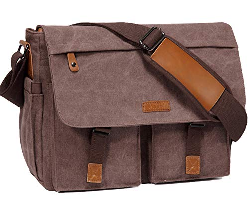 Messenger Bag, Vaschy Water Resistant Waxed Canvas 14inch Laptop Bag for Men and Women Shoulder Bag for Work, School, Coffee