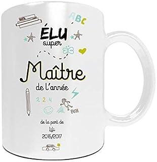 Mug maître à personnaliser avec le prénom de votre enfant - Cadeau pour maître personnalisé - cadeau maître pour la fin d'...