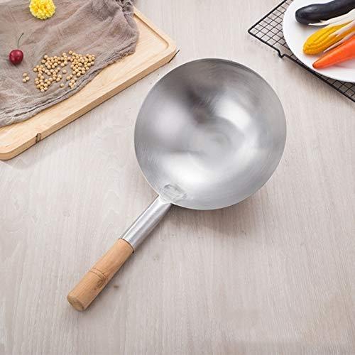 WXX Acero Inoxidable Cuchara de Cocina Cuchara de Agua Cuchara Grande, Tamaño: 24cm (Color : Wooden Handle)