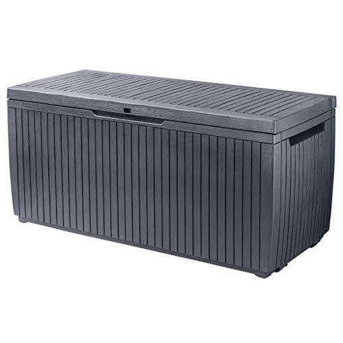 Keter Auflagenbox 305L Holzoptik Kissenbox Gartenbox Aufbewahrungsbox Garten