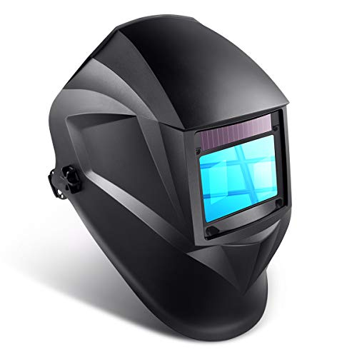 "Auto Darkening Welding Helmet, 1/1/1/1 Solar Powered Welding Hood with Large View Area 3.94""x2.56"", Professional Grinding Welder Mask with 4 Arc Sensor, Wide Shade Range 3/4-13 for TIG MIG MMA Plasma"