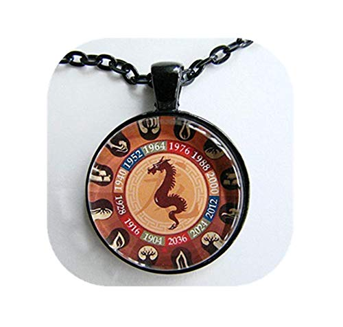 heng yuan tian cheng Chinees Jaar van de Draken Ketting, Chinese Zodiac voor hem en haar, Chinees Nieuwjaar, Astrologisch Verjaardagscadeau, Zodiac Art