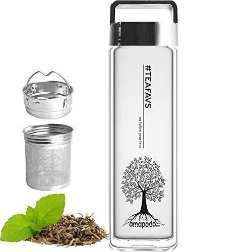 amapodo - Trinkflasche Glas - Glasflasche - Teeflasche - Geschenke für Frauen, Männer - Wasserflasche Glas - Teekanne Thermo - Tee Flasche mit Sieb to go - Tea Glass Bottle 400ml - Deckel Silber