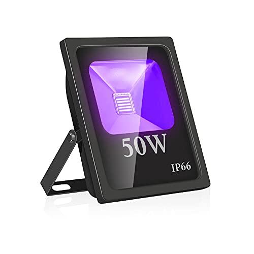 UV Led Luz de Inundación,Eleganted Impermeable IP66 Blacklights Luces Negra 50W Lámpara Led para Fiesta Art Pintura Centro de exposiciones Pescar Acuario