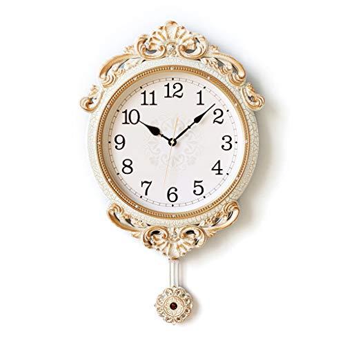 LZL Relojes de Pared Pastoral Reloj de péndulo Sala de Estar Mudo Reloj de Pared Grande Europeo Hogar Estadounidense Reloj de Pared Reloj de Cuarzo Creativo Reloj de Pared