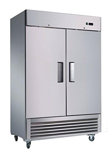 Sybo 50 Cubic Feet Double 2 Door Side by Side Stainless Steel Heavy Duty Reach-in Commercial Refrigerator, Holds Temperature Between 31°F and 40°F for Restaurants (KR-49)