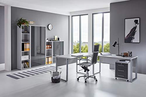 BMG-Moebel.de Büromöbel komplett Set Arbeitszimmer Office Edition in Lichtgrau/Anthrazit Hochglanz (Set 4)