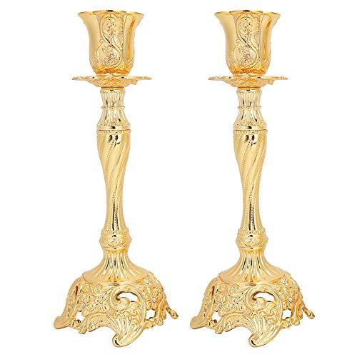 Fydun 1 par de candelabros Estilo Europeo de aleación de Oro candelabro para Regalo romántico Cena con Velas Accesorios de Boda Adorno(Gold)