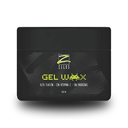 Gel Wax de Alta Fijación 300ml - Con Vitamina E - Sin Parabenos - Textura Cera, con Efecto Húmedo, No Deja Residuos - Gel de Peinado de Uso Profesional - Zelos