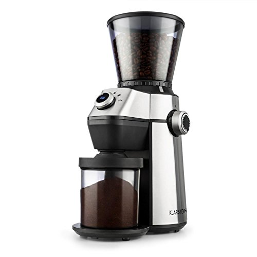 Klarstein Triest - Kaffeemühle, Kegelmahlwerk, 150 Watt, 300 g Bohnenbehälter mit Autoverschluss, planetarisches Getriebe, 15 Mahlgrade: von grob bis fein, einfache Reinigung, Edelstahl