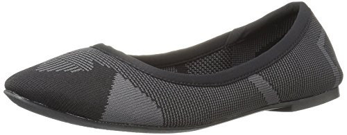 Skechers Women's Cleo Wham Flat, Black/Charcoal, 8 M US