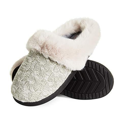Dunlop Zapatillas Mujer, Zapatillas Casa Mujer con Forro Polar, Pantuflas Mujer Suela de Goma Antideslizante, Regalos para Mujer y Adolescentes Talla 36-41 (Gris Claro, Numeric_40)
