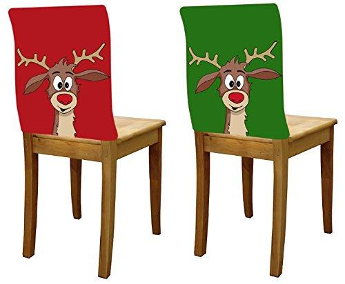 Stuhlhusse Rentier Didi im 2er Set grün und rot Weihnachtsdekoration - Tinas Collection - Das etwas andere Design