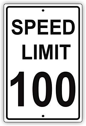Metal Tin Sign Speed Limit 100 Mph Miles Per Hour Black Letters Zone Slow Down Speeding Alert Attention Caution 8''x12'' Decor Aluminum Sign Wall Sign