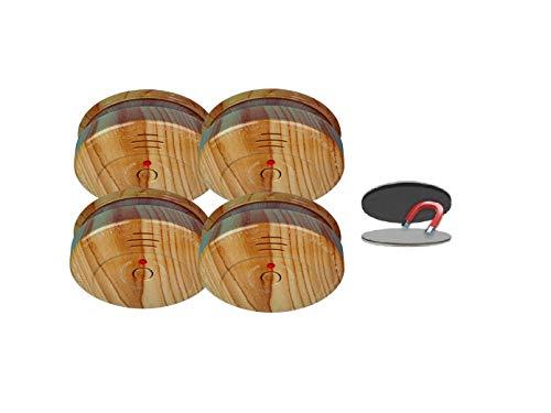 SMARTWARES 4er-Set optische Rauchmelder in Holzoptik inkl. Magnethalter, 85dB Alarm; RM149H; RMAG2
