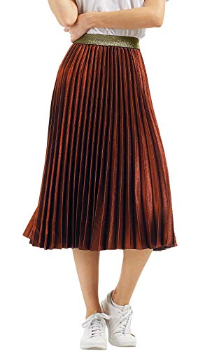 CHARTOU Womens Elastic-Waist Accordion Pleated Metallic Long Party Skirt (Caramel, one Size)