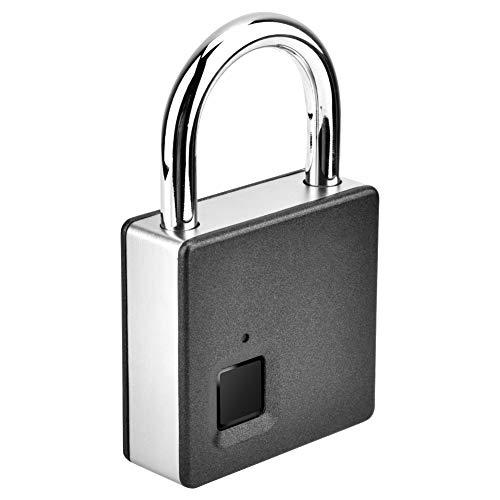 Biometric Thumbprint Lock, Portable Waterproof Security Digital Lock, Zinc Alloy Dustproof Anti-Theft Doors for Cabinets Suitcases Drawer(Silver)