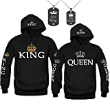 Forlove365 King and Queen Hoodies Couple Sweatshirts His & Her Sweaters with Necklace (Black, King L+Queen L)