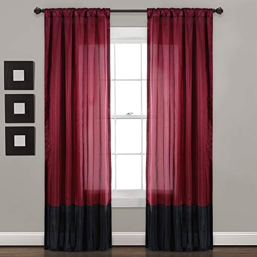 "Lush Decor Milione Fiori Window Curtains Panel Set for Living, Dining Room, Bedroom (Pair), 84"" x 42"", Red/Black"